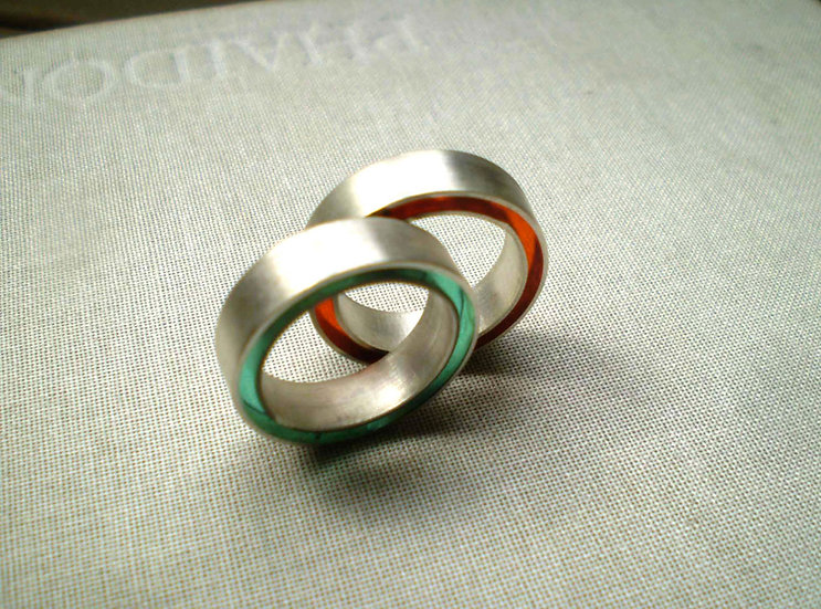Concentric ring in silver and resin!