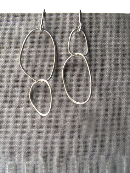 Wire irregular minimal earrings in brushed or blacked sterling!