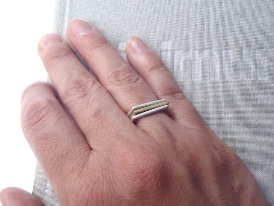 anillos U bisel delgado mix de metales