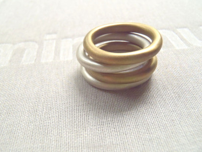 anillos dona en mix de metales
