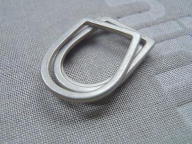 anillos U bisel delgado plata mate