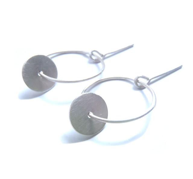 dangle disc and hoop post earrings