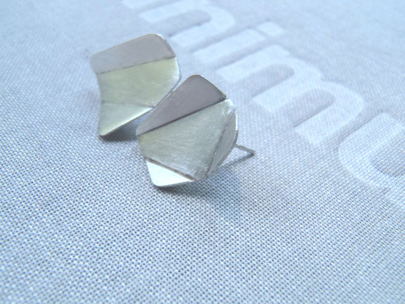 mismatched origami earrings