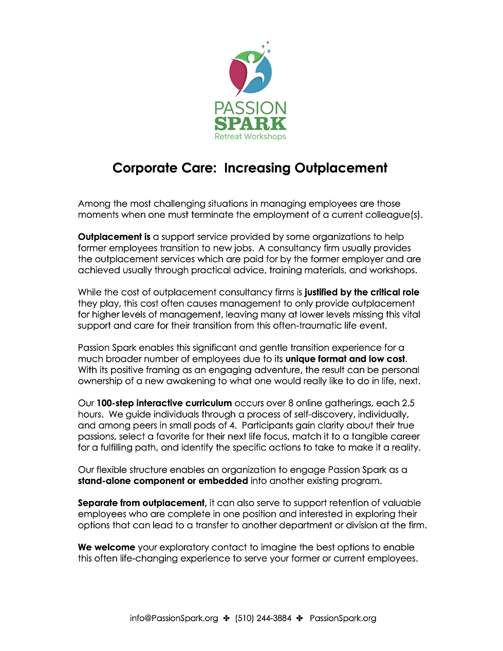 Corporate Care in the form of Outplaceme