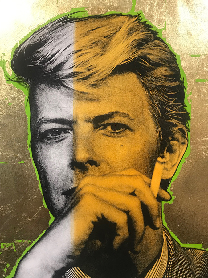 detail : Bowie (gold leaf, green, yellow), Lithography, 80x60cm, variable edition