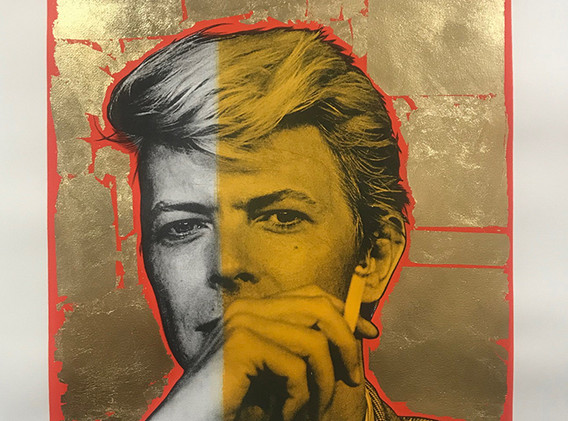 Bowie (gold leaf, red, yellow), Lithography, 80x60cm, variable edition