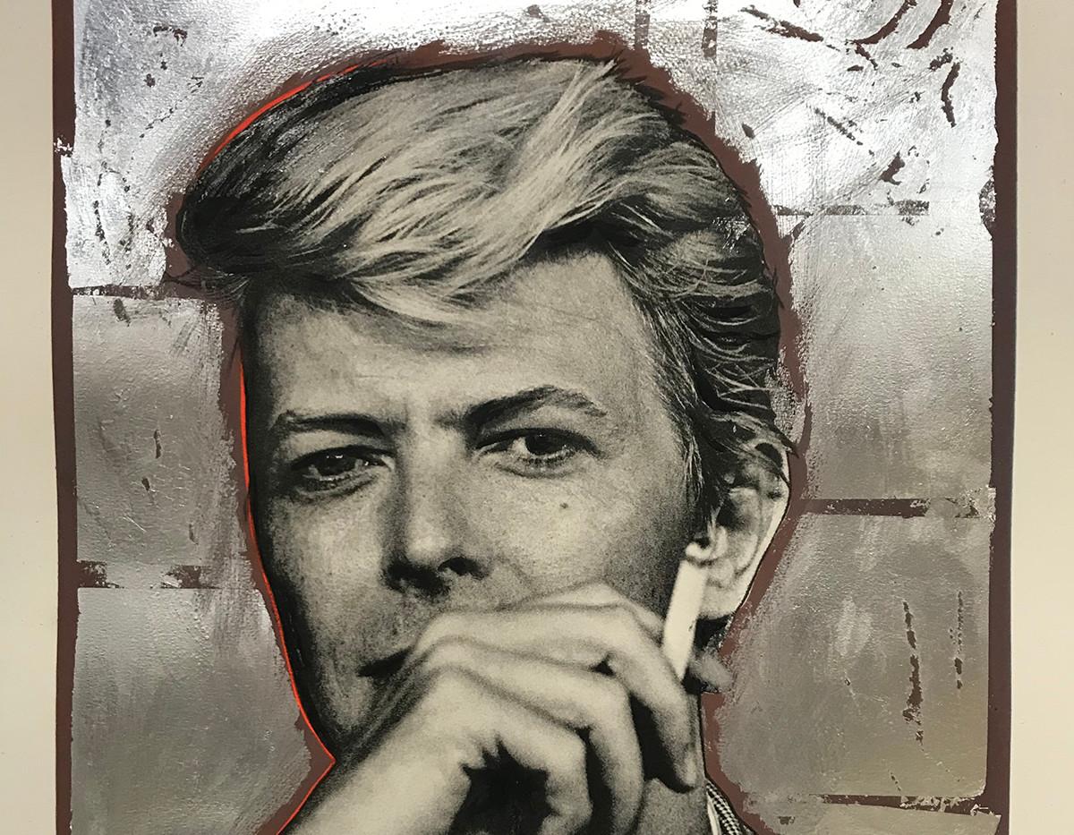 Bowie (silver leaf, mauve), Lithography, 80x60cm, variable edition