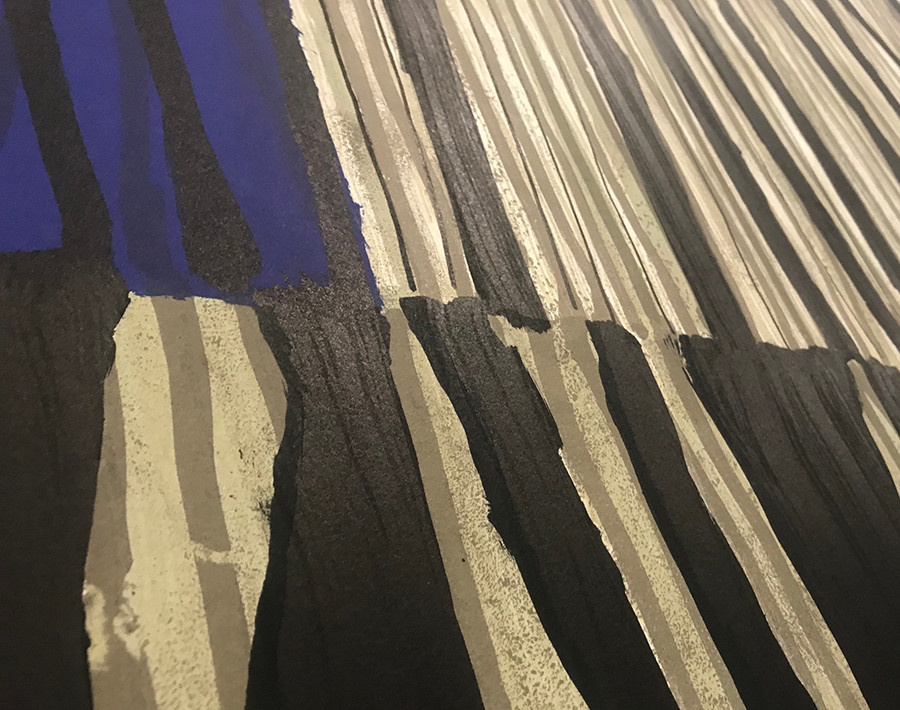 detail : Code Barre (bleu), 80x120cm, Lithography