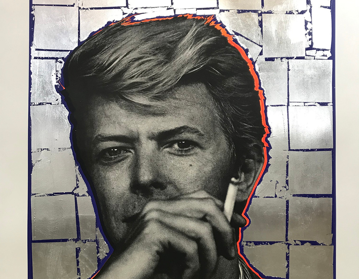 Bowie (silver leaf, blue), Lithography, 160x120cm, variable edition