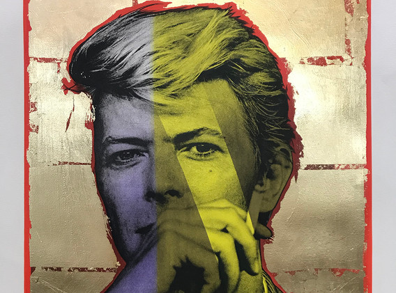 Bowie (gold leaf, red, purple), Lithography, 80x60cm, variable edition