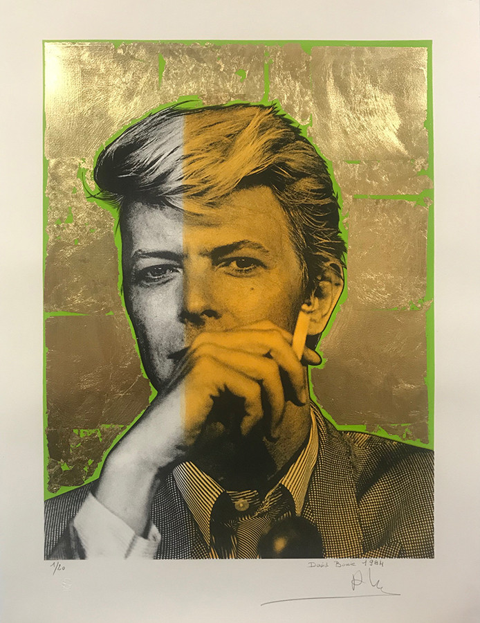 Bowie (gold leaf, green, yellow), Lithography, 80x60cm, variable edition