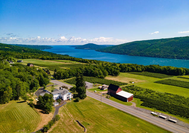 Drone shot of house vineyard and Cananda