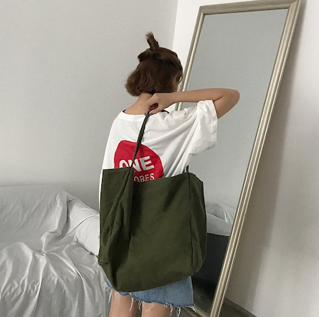 khaki green bucket tote
