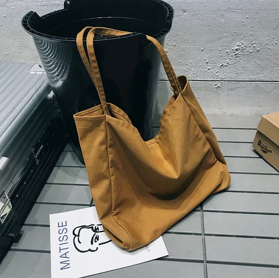oversized camel bucket tote
