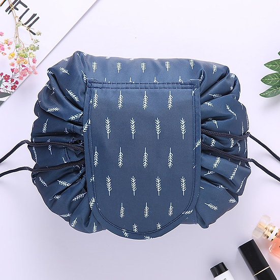 blue feather drawstring make up bag