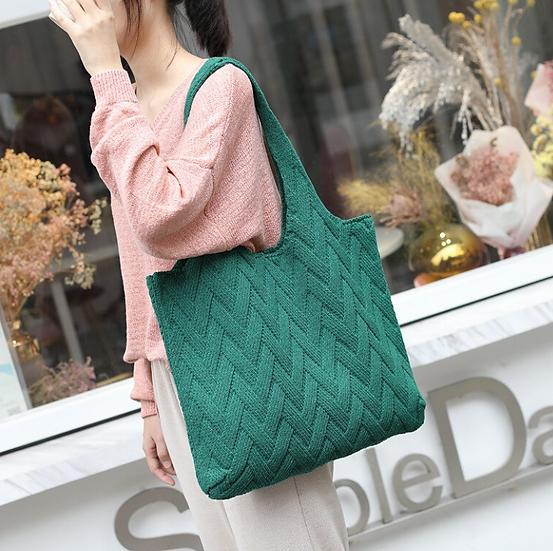 bottle green woven woollen bag