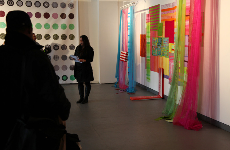 Bibi Flores, Electric Bubble Juicy Green Wish, 2010, mixed media installation, 168 x 108 x 18 inches.  Art artist talk in 2011 in Rupert Ravens Gallery, Newark, New Jersey