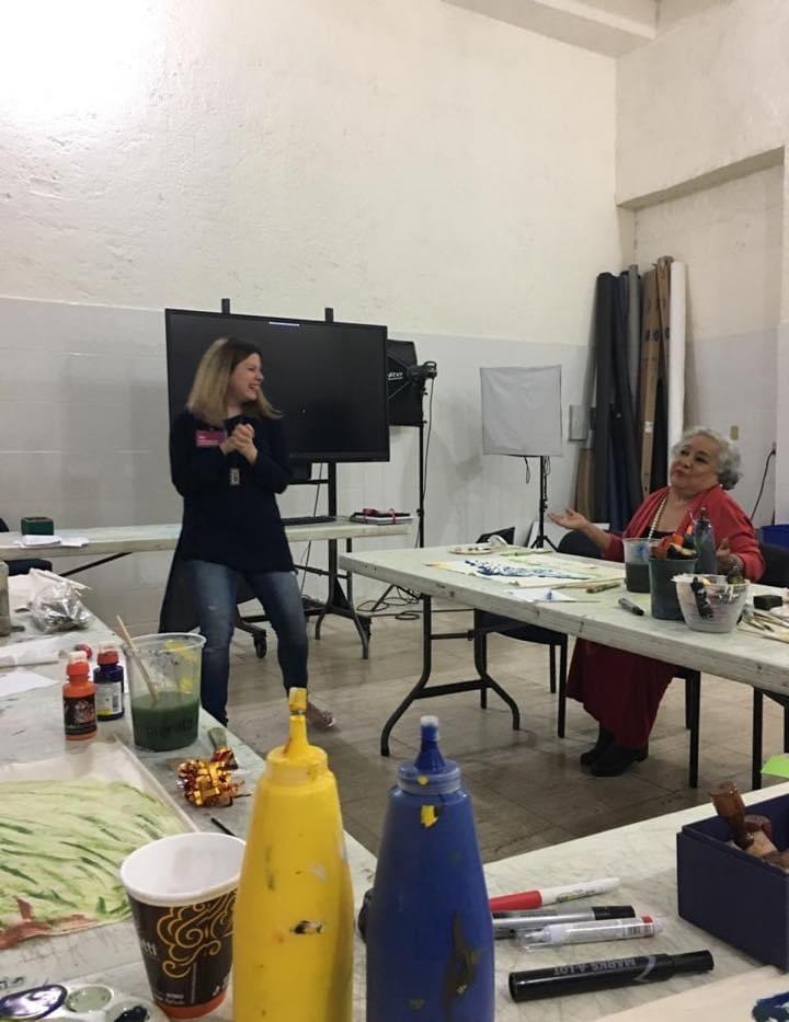 Artist at her Art Sensorial Healing Workshops in MARCO Museum in Monterrrey Mexico