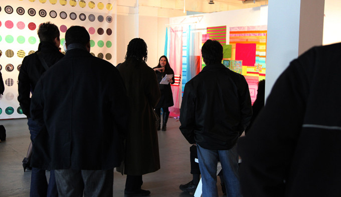 Bibi Flores, Electric Bubble Juicy Green Wish, 2010, mixed media installation, 168 x 108 x 18 inches.   At artist talk in 2011 at Rubert Ravens Gallery Insight Inn, exhibition from 2010-11, in Newark, New Jersey