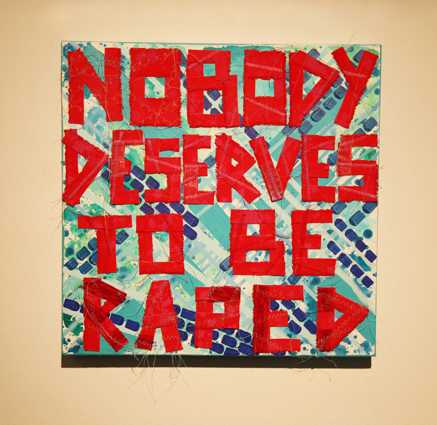 Bibi Flores, Nobody Deserves to Be Raped, 2013, acrylic on canvas, and canvas collage, 16 x 16 inches.  From artist project Goodbye To Assholes, I Deserve Much Better since 2010 to the date.