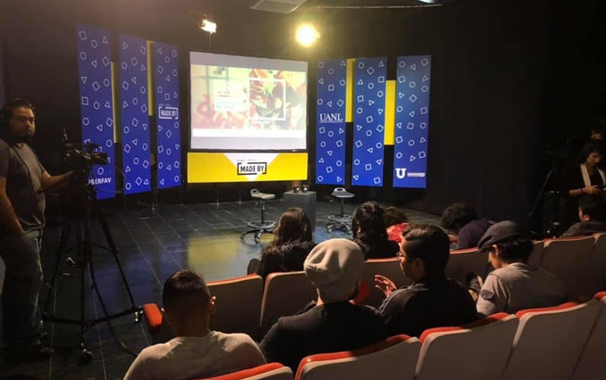 Interview and Artist Talk for T.V. and auditorium at Universidad Autonoma De Nuevo Leon (UANL) at The Visual Arts Department in Monterrey Mexico. About artist work, experiences, and healing.