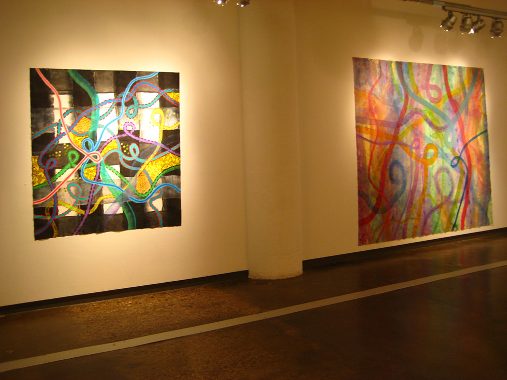 Bibi Flores, left, Still On My Mind, 2009, acrylic on unstretched canvas, 63.5 x 59 inches.  Bibi Flores, right, One Day Dream, 2009, acrylic on unstretched canvas, 105 s 96 inches   At Visual Arts Gallery in Chelsea, New York. Exhibition Electric Kool-Aid with artist Bibi Flores, Matthew Stone, and Matthew Craven.  Exhibition   From artist project Restricted Silent Emotions, The Celebration Of The Ones Allowed.