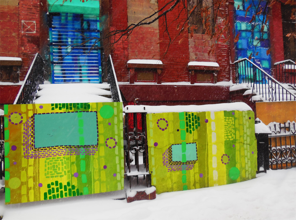 Bibi Flores, Process, Transformation, and Open Doors, 2017-18 Mural in 3 buildings in Spanish Harlem. (Buildings just got demolished Nov-2020)