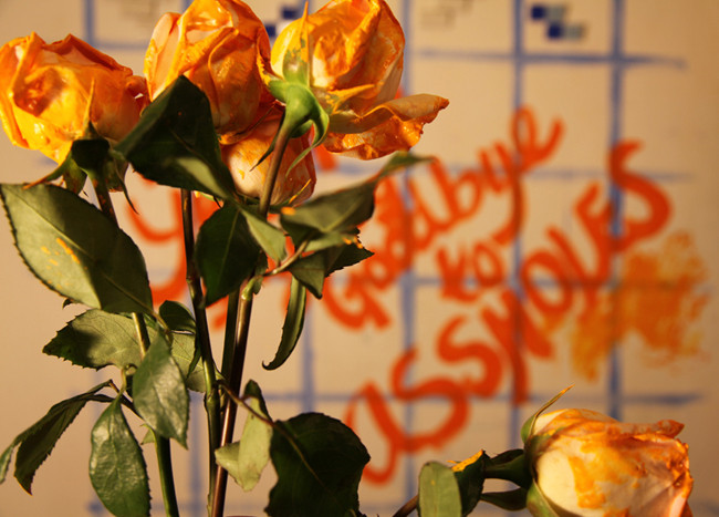 Bibi Flores, You Don't Buy Me With Flowers, 2013, performative photograph  From The Goodbye To Assholes Project since 2010