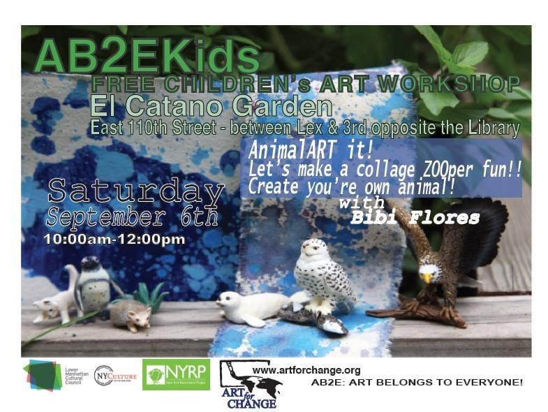 Artist Empowerment Workshop for Children. Art For Change at Catano Garden Spanish Harlem in New York City.