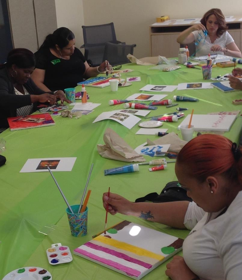 Artist Art Healing Workshops for Survivors at the NYC Mayor's Office to Combat Domestic Violence.