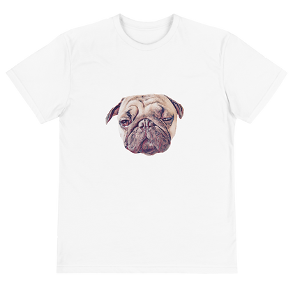 Good Vibes Only T-shirt Front with Chiku the Pug