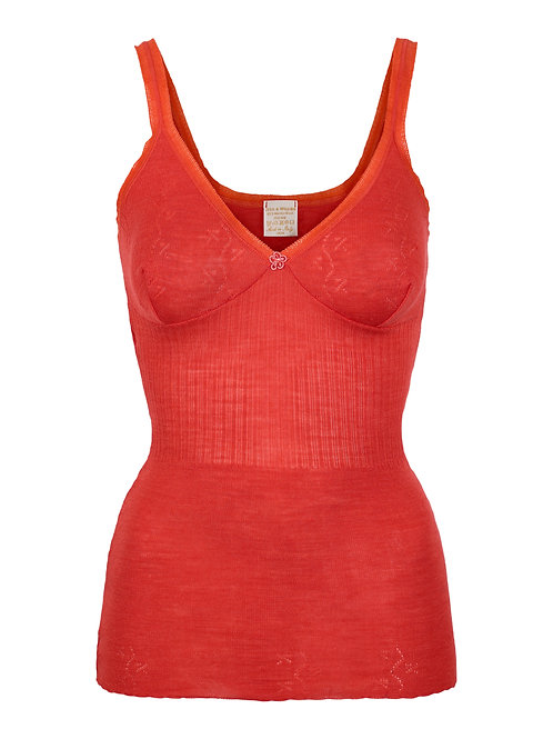 Vera & William Silk and Wool Vest Coral