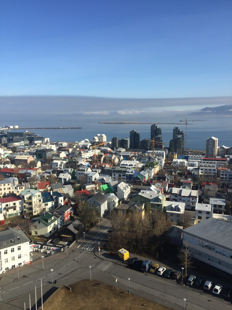 The view of Reykjavik from the top of Hallgrimskirkja Cathedral in Iceland.