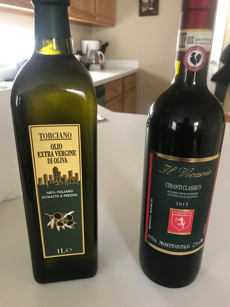 Imported Chianti and olive oilfrom the vineyard in Italy I was just at!