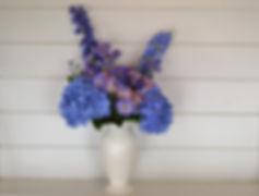Blue floral vase arrangement