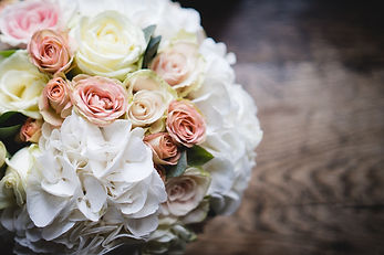 Pink and white vintage rose wedding bouquet