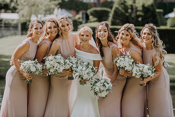 White bridal party bouquets