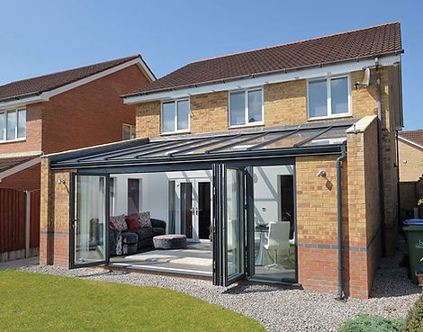 Glass extension with Bi-folding doors.jp