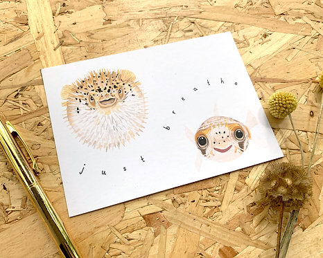 Just Breathe Pufferfish Postcard // Mini Print