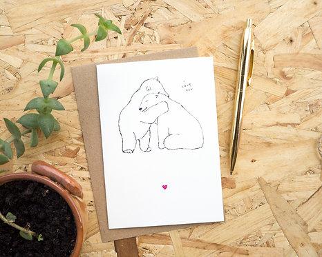 Polar Bear Hug I Love You // Valentines Day Card