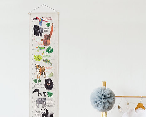 Pre Order*** Jungle Animals Fabric Height Chart