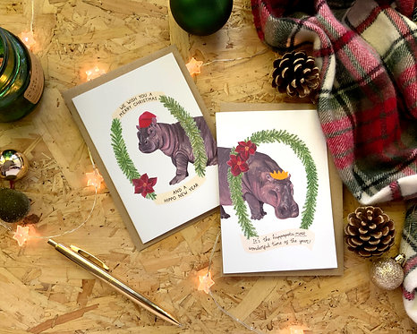 Set of 4 Hippo Christmas Cards