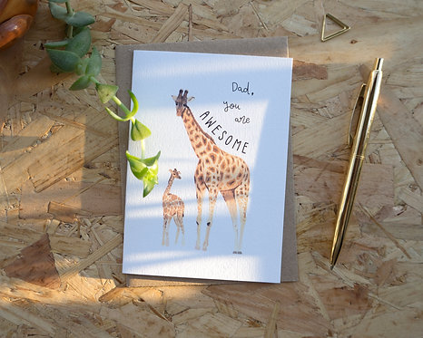 Dad You Are Awesome // Giraffe Father's Day Card
