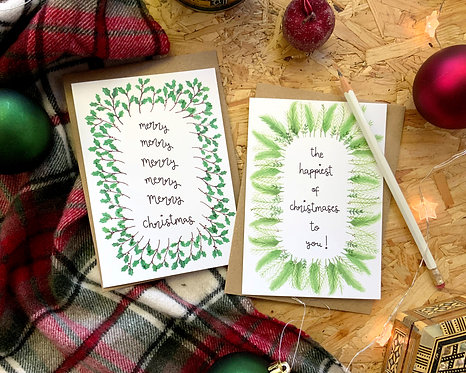 Set of 4 Festive Foliage Christmas Cards