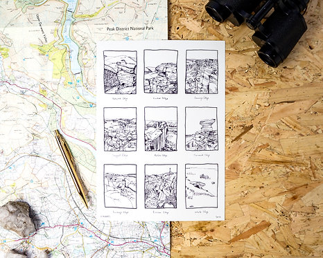 Edges of the Peak District Illustration Print