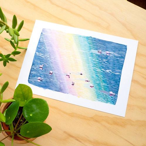 Flamingos on the Salt Pan Print // A4 or A3