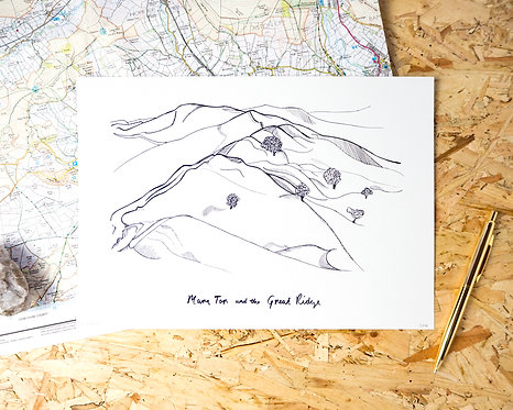 Mam Tor and the Great Ridge Illustration Print