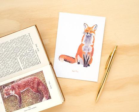 Red Fox Postcard // Mini Print