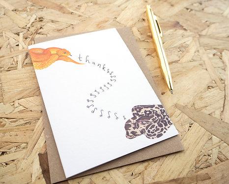 Thankssssssss Snake Thank You Card