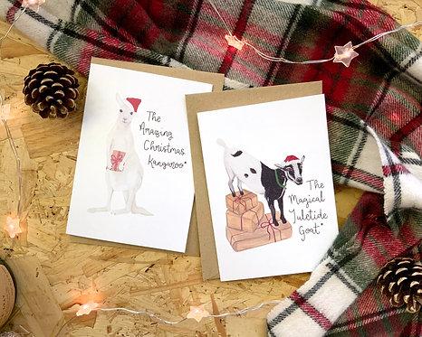Set of 4 Animal Fact Christmas Cards